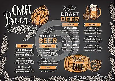 Beer restaurant cafe menu, template design. Vector Illustration