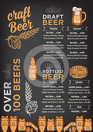 Beer restaurant cafe menu, template design. Vector Illustration