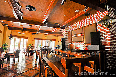 Beer restaurant indoor with wooden furniture