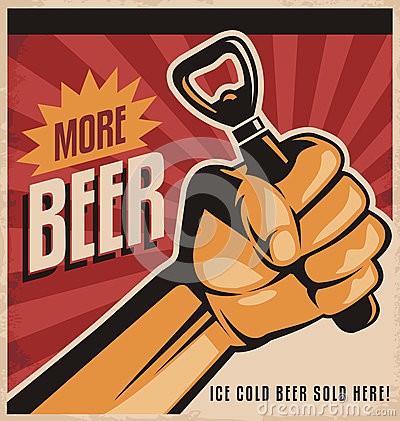 Free Beer Retro Poster Design With Revolution Fist Stock Photo - 36924890