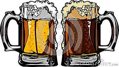 Beer or Root Beer Mugs Vector Illustration