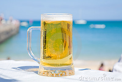 Beer in seaside caffee