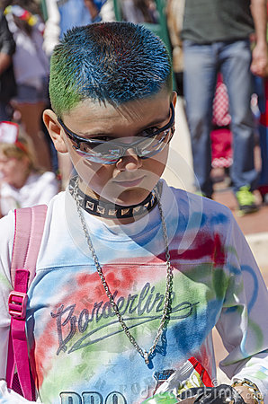 Free Beer-Sheva, ISRAEL - March 5, 2015: Portrait Of A Teenage Boy With A Green-blue Dyed Hair In Black Glasses, 2015, Israel Royalty Free Stock Image - 51338306