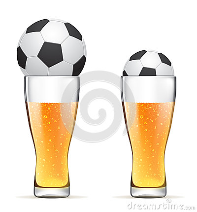 Beer with soccer ball