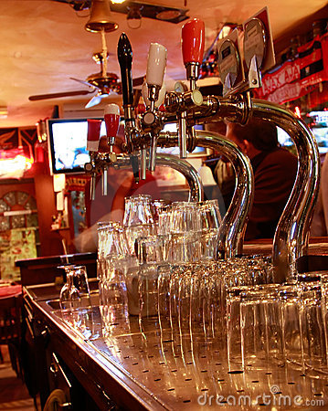 Beer-taps in a bar