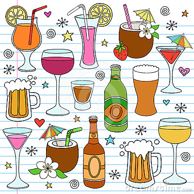 Beer Wine and Mixed Drinks Doodle Design Elements