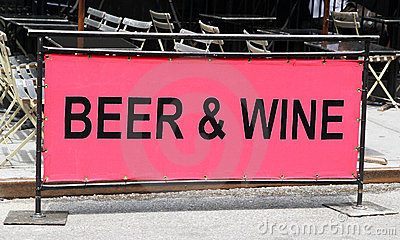 Beer and wine sign.