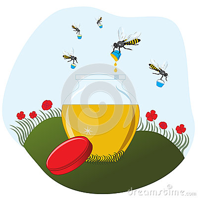 Bees carrying honey to the pot
