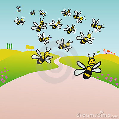 Bees in the countryside (vector)