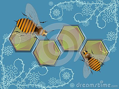 Bees and decorative flowers