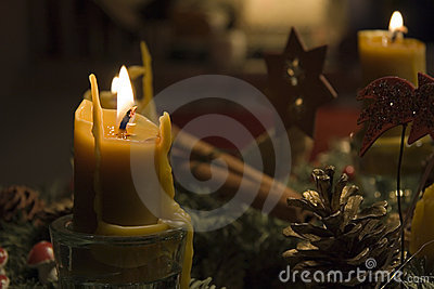 Beeswax candles on an advent wreath