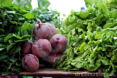 Beet root and lettuce