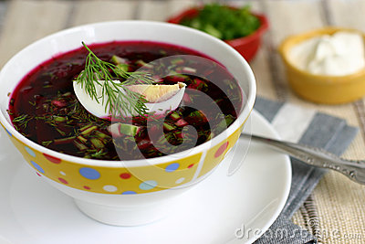 Beet soup with egg and cucumber