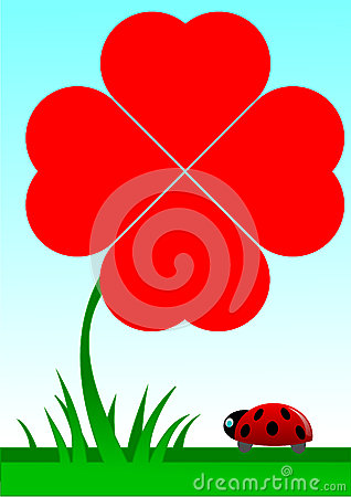 Beetle facing a red shamrock with four foils