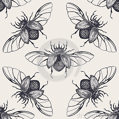 Free Beetles With Wings Vintage Seamless Pattern Royalty Free Stock Photo - 59708495