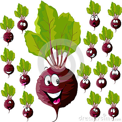 Beetroot with many expressions