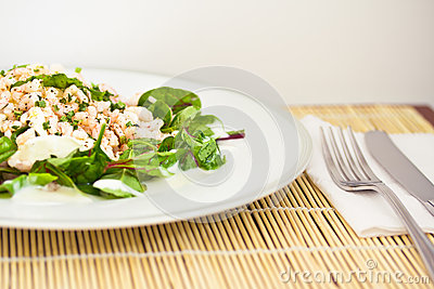 Beetroot spinach and prawns, healthy salad
