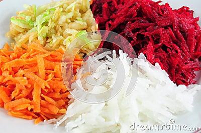 Beetroot, turnip, apple and carrot salad