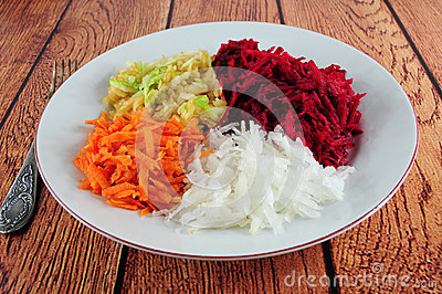 Beetroot, turnip, carrot and apple salad