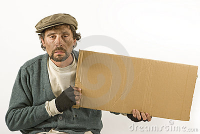 Beggar with cardboard and beret