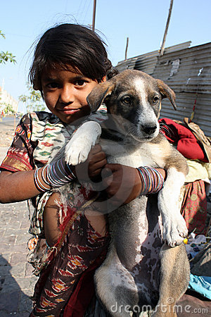 Beggar Girl with Pet Editorial Photo
