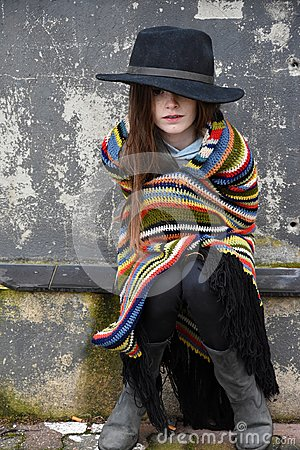 Free Beggar Girl With Black Hat Royalty Free Stock Images - 108463239