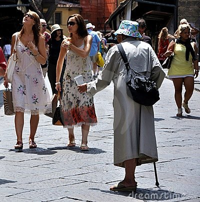 Free Beggar On The Streets Of Florence, Italy  Royalty Free Stock Images - 17356069