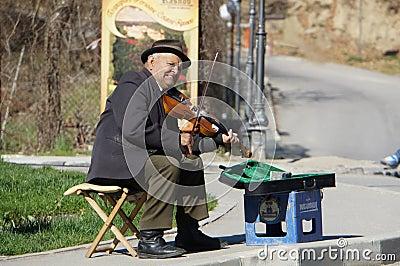 Beggar on street Editorial Stock Photo