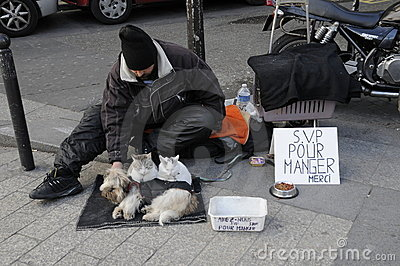 Beggars and his pets in financial crisis Editorial Stock Image