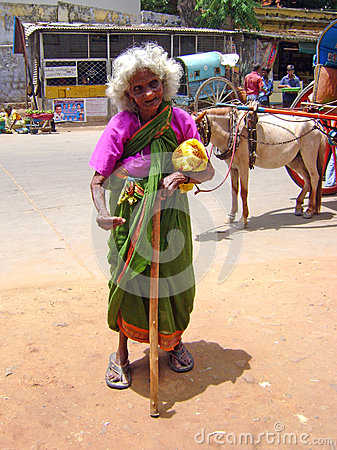 A begging old woman in India Editorial Stock Photo