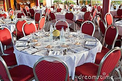 Beginning of official dinner in restaurant