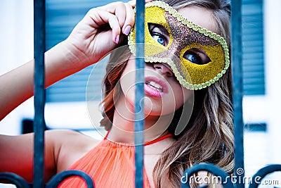 Behind mask