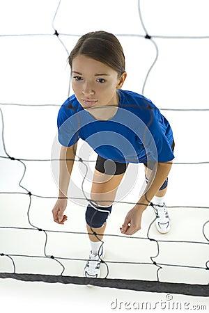 Behind net