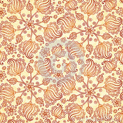 Beige abstract doodle flowers seamless pattern