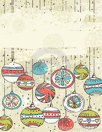 Beige background with christmas balls,