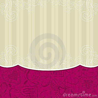 Beige background with hand draw  hearts