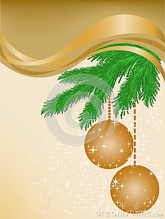 Beige background with spruce branches