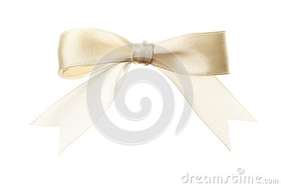 Beige bow isolated on white background. Insulation ribbon Stock Photo