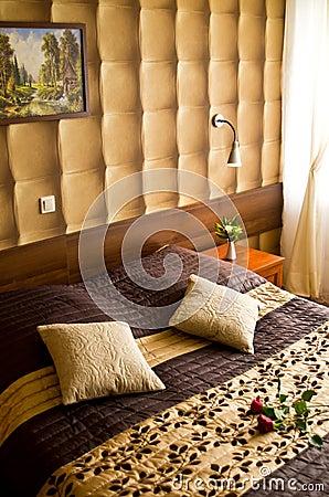 Beige and brown bedroom