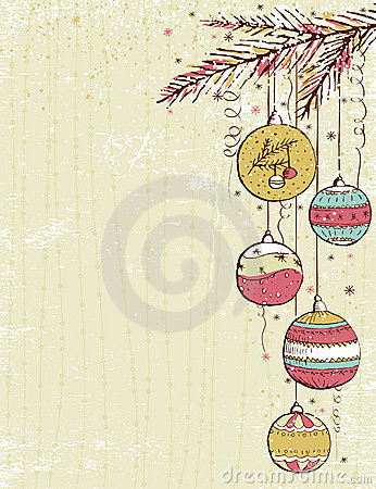 Beige christmas background with christmas balls