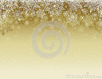 Beige christmas background with snowflakes and stars, vector Vector Illustration
