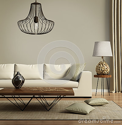 Free Beige Contemporary Modern Sofa With Green Cushions Royalty Free Stock Image - 59613716