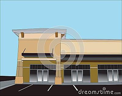 Beige corner retail store