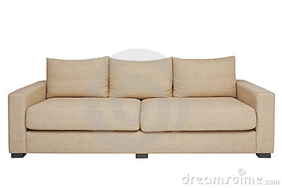 Beige couch on white