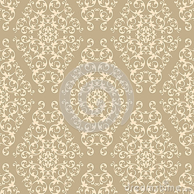 Beige Damask Pattern