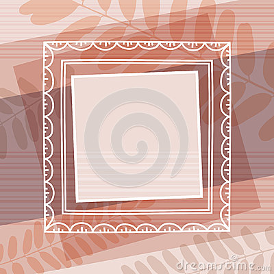 Beige decorative background with frame, vector