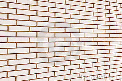 Beige fine brick wall background perspective
