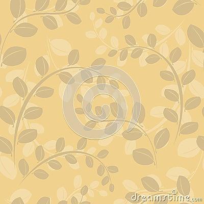 Beige floral seamless pattern - vector