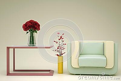 Beige green armchair