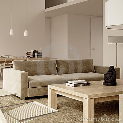 Free Beige Minimalist Contemporary Interior Royalty Free Stock Photo - 10773055